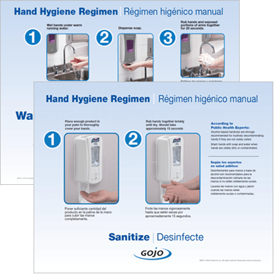Hand Hygiene Regimen Wash and Sanitize GOJO and PURELL Poster