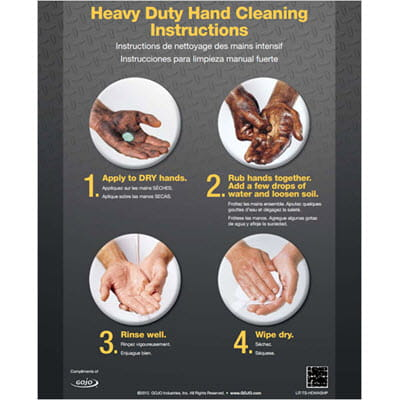 Heavy Duty Hand Cleaning Instructions Poster