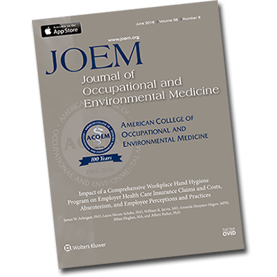Impact of a Comprehensive Workplace Hand Hygiene Program on Employer Health Care Insurance Claims and Costs, Absenteeism, and Employee Perceptions and Practices – published in the Journal of Occupational and Environmental Medicine