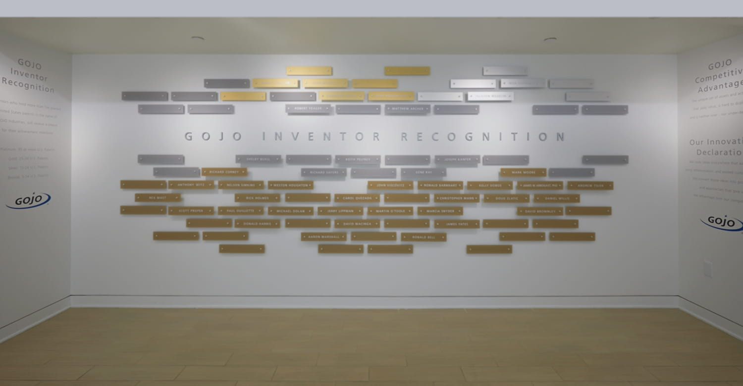 GOJO awards wall