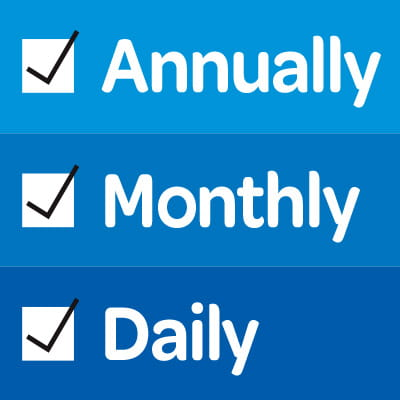 Daily Monthly Annually Checklist