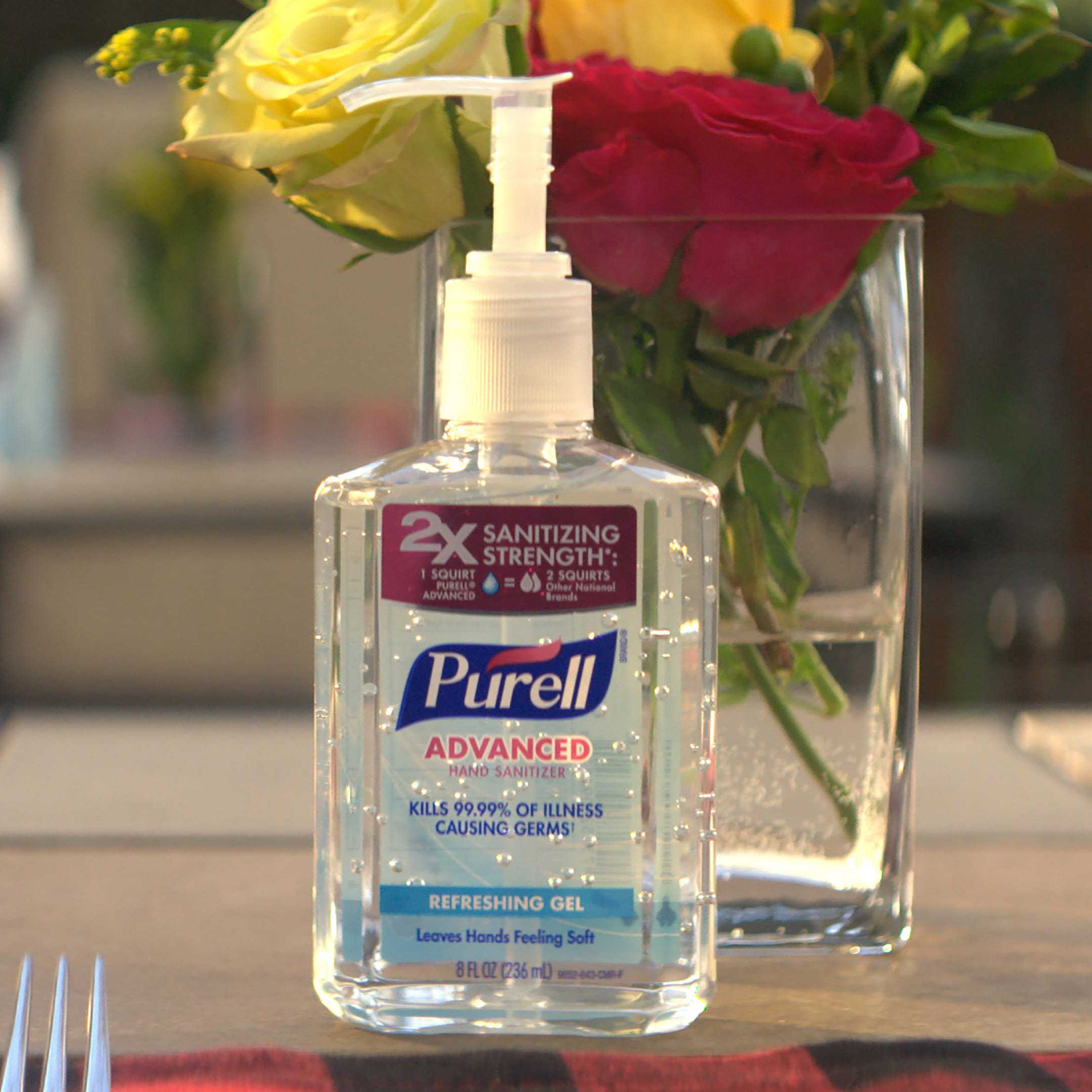 PURELL Hand Sanitizer on holiday dining table