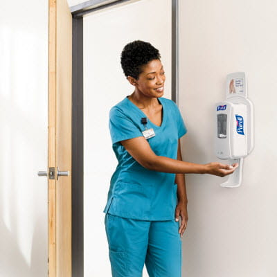 PURELL Hand Sanitizer Doctor using Dispenser