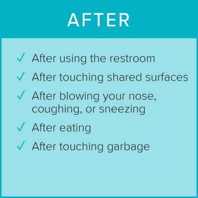 Wash and Sanitize after using the restroom, touching surfaces, blowing nose, coughing, sneezing, eating, touching garbage