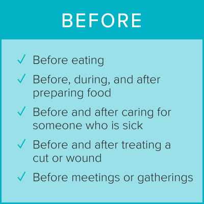 Wash and Sanitize before eating, preparing food, caring for someone sick, treating a wound, before meetings and gatherings