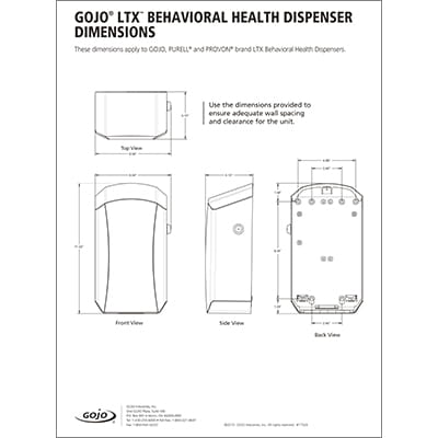 LTX Behavioral Health Dispenser Dimensions