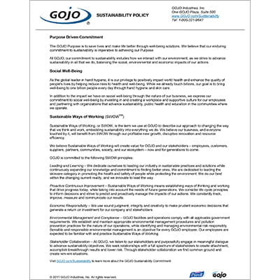 GOJO Sustainability Policy