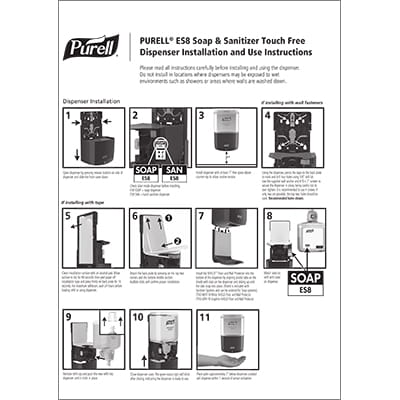 PURELL ES8 Dispenser Installation Instructions English and French